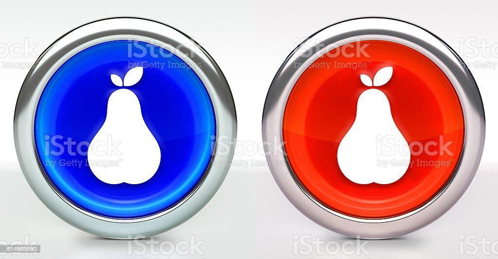Pear Icon on Button with Metallic Rim stock photo