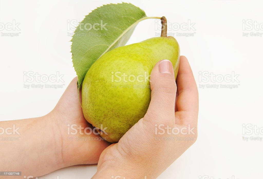 Pear in the Hand royalty-free stock photo