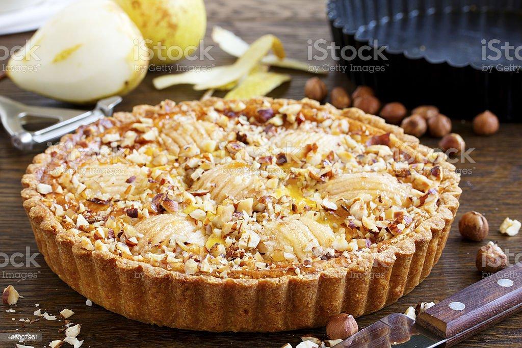 Pear pie with nuts and mascarpone. stock photo