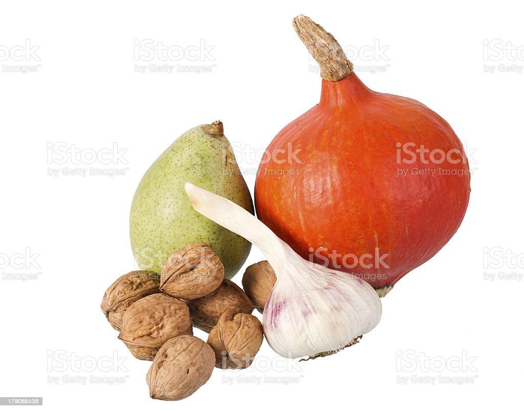 pear, pumpkin, garlic  and many nuts stock photo