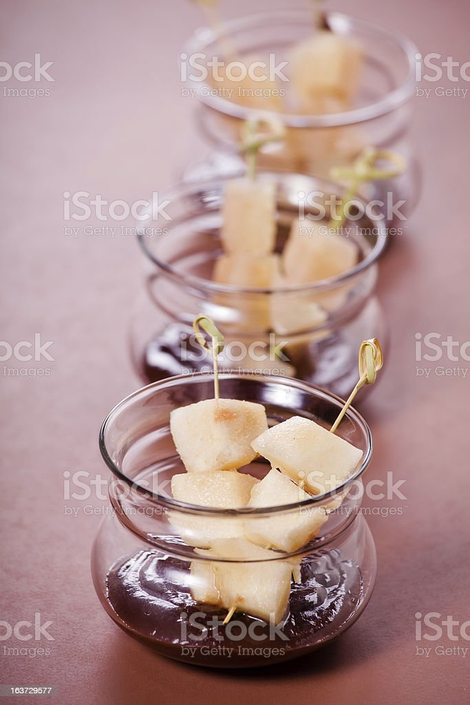 Pear Skewers With Chocolate royalty-free stock photo