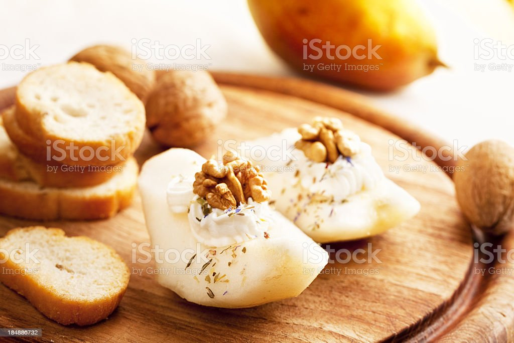 pear walnut goatcheese appetizer royalty-free stock photo