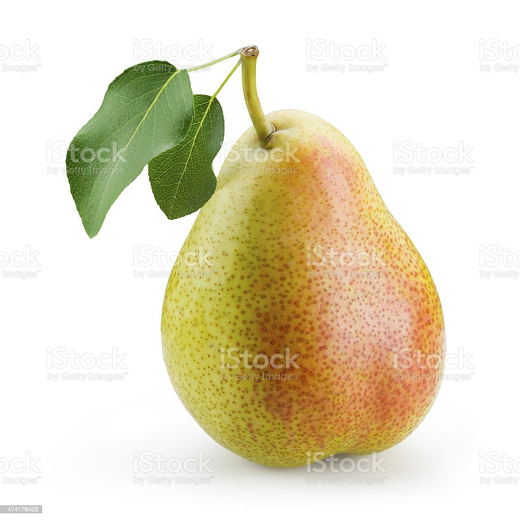 Pear with leaf isolated on white background stock photo