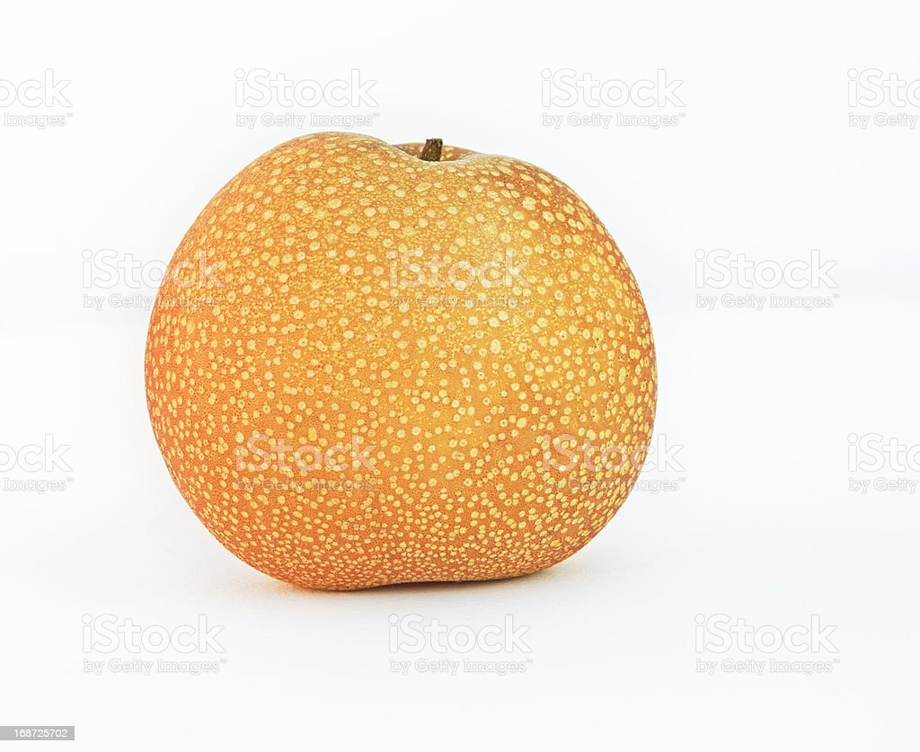 Pear with spots on white background. royalty-free stock photo