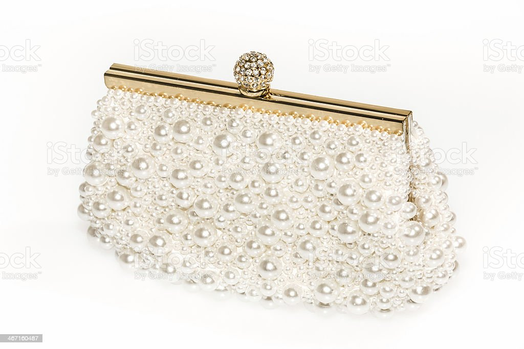 Pearl Beaded handbag stock photo