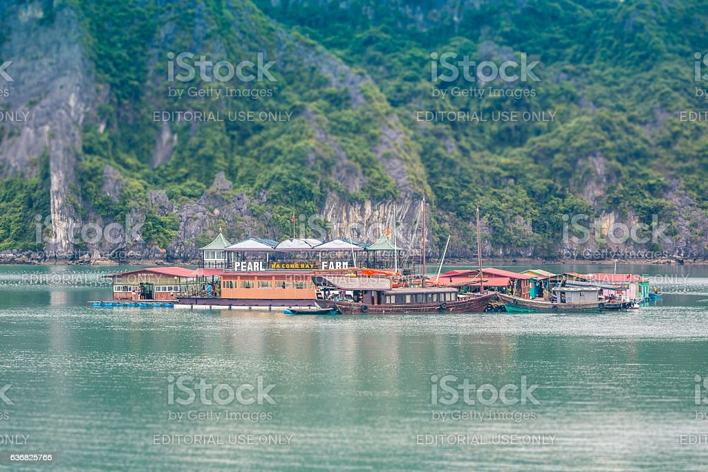 Pearl farm in Halong bay, Vietnam stock photo