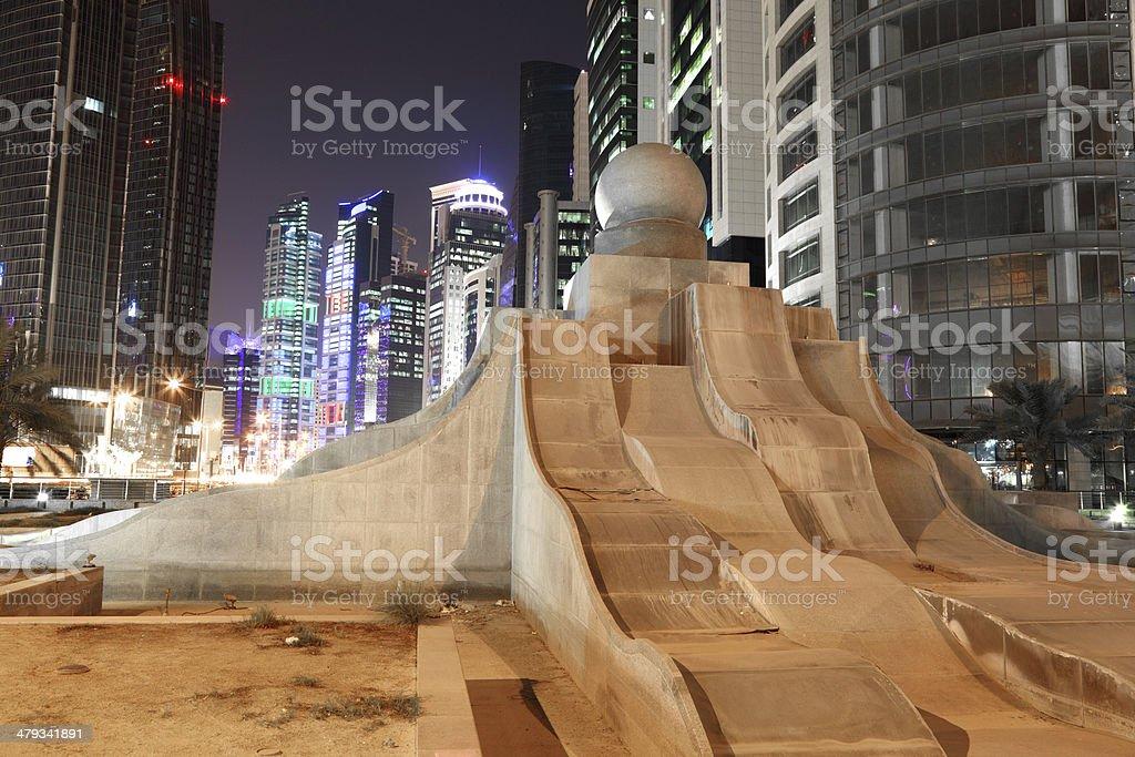Pearl fountain in Doha downtown stock photo