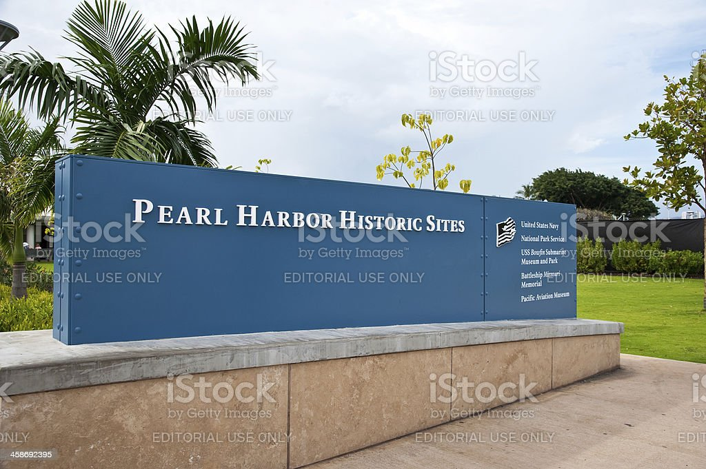 Pearl Harbor Historic Site Entrance Sign, Hawaii stock photo