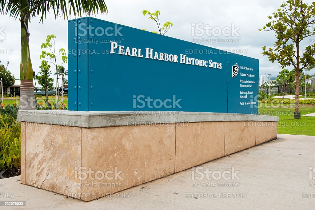 Pearl Harbor Historic Sites sign memorial stock photo