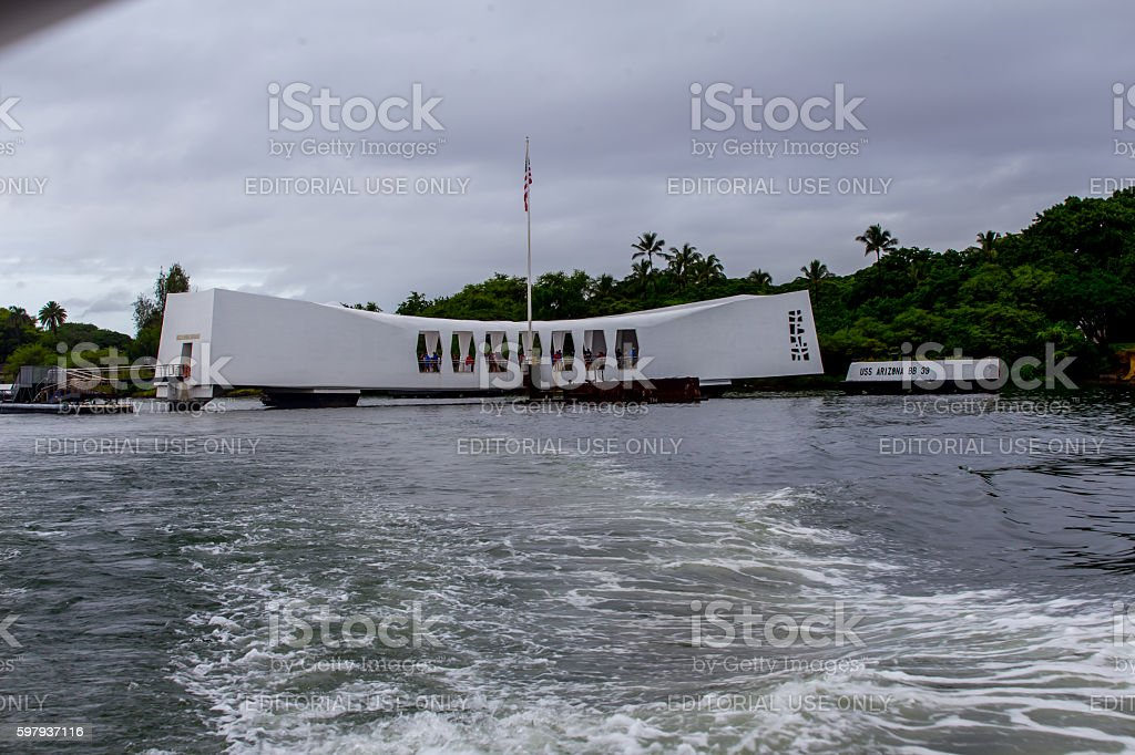 Pearl Harbor Memorial in Hawaii wall with names stock photo