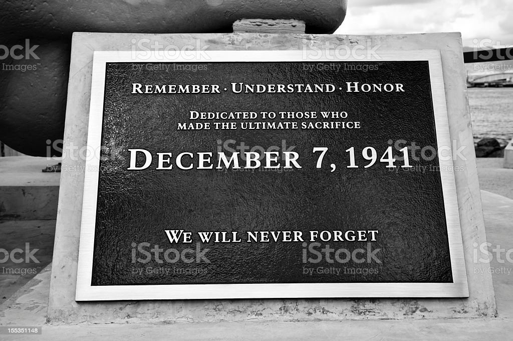 Pearl Harbor memorial plaque stock photo