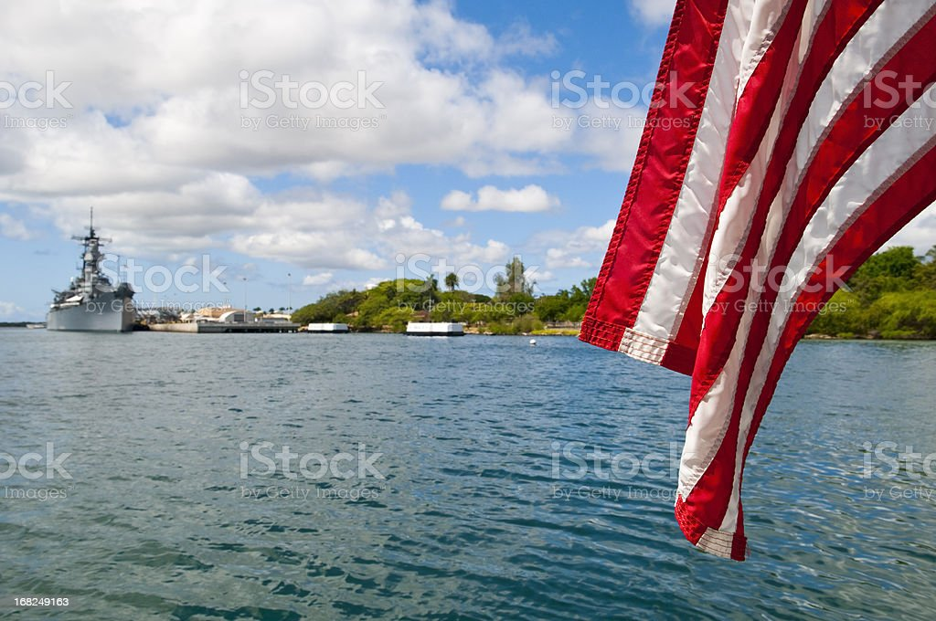 Pearl Harbor with American flag and U.S.S. Missouri stock photo