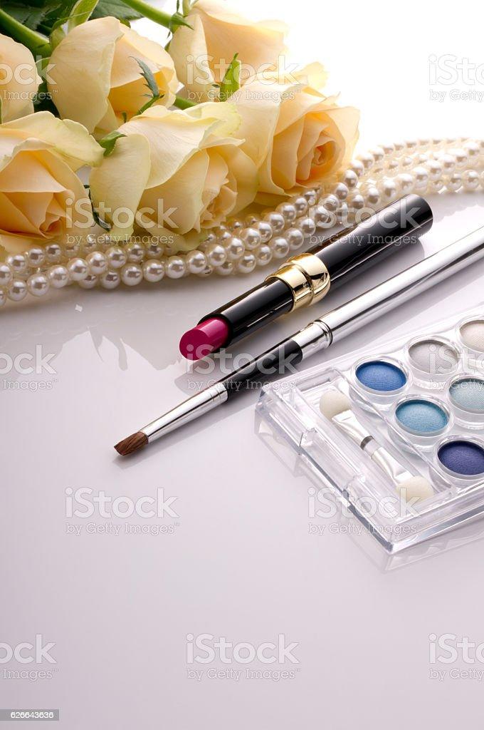 Pearl jewellery and cosmetics stock photo