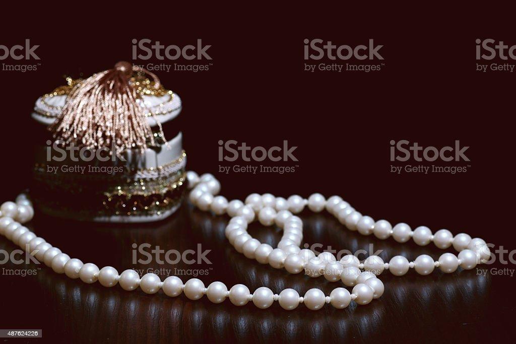 pearl jewelry box stock photo