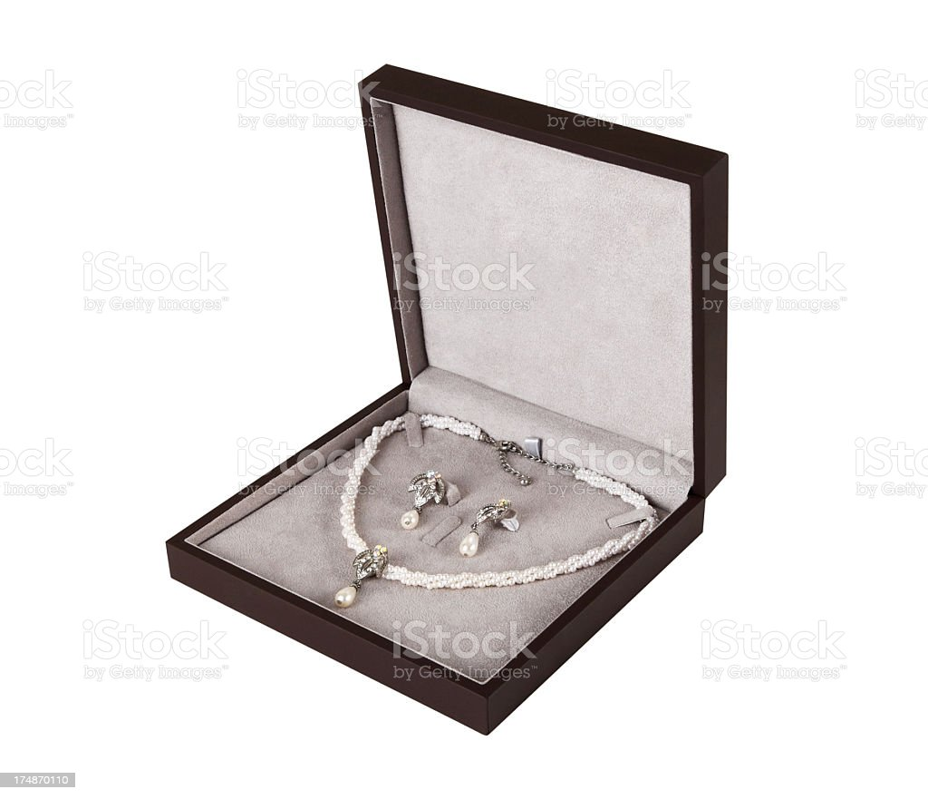 Pearl Jewelry Set +Clipping Path royalty-free stock photo