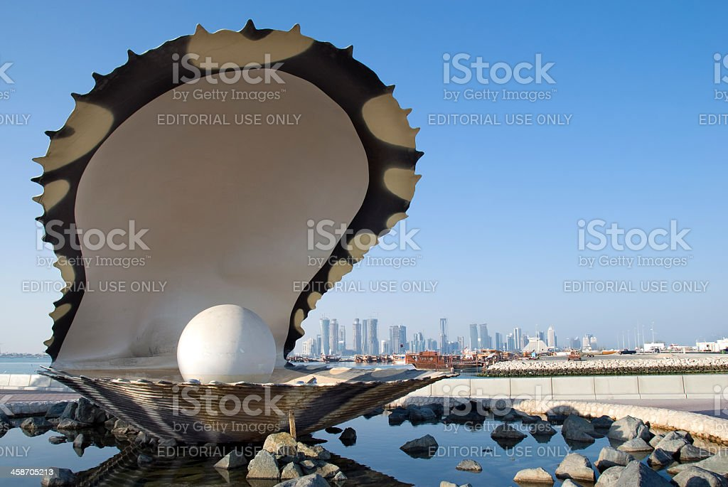 Pearl Monument in Doha stock photo
