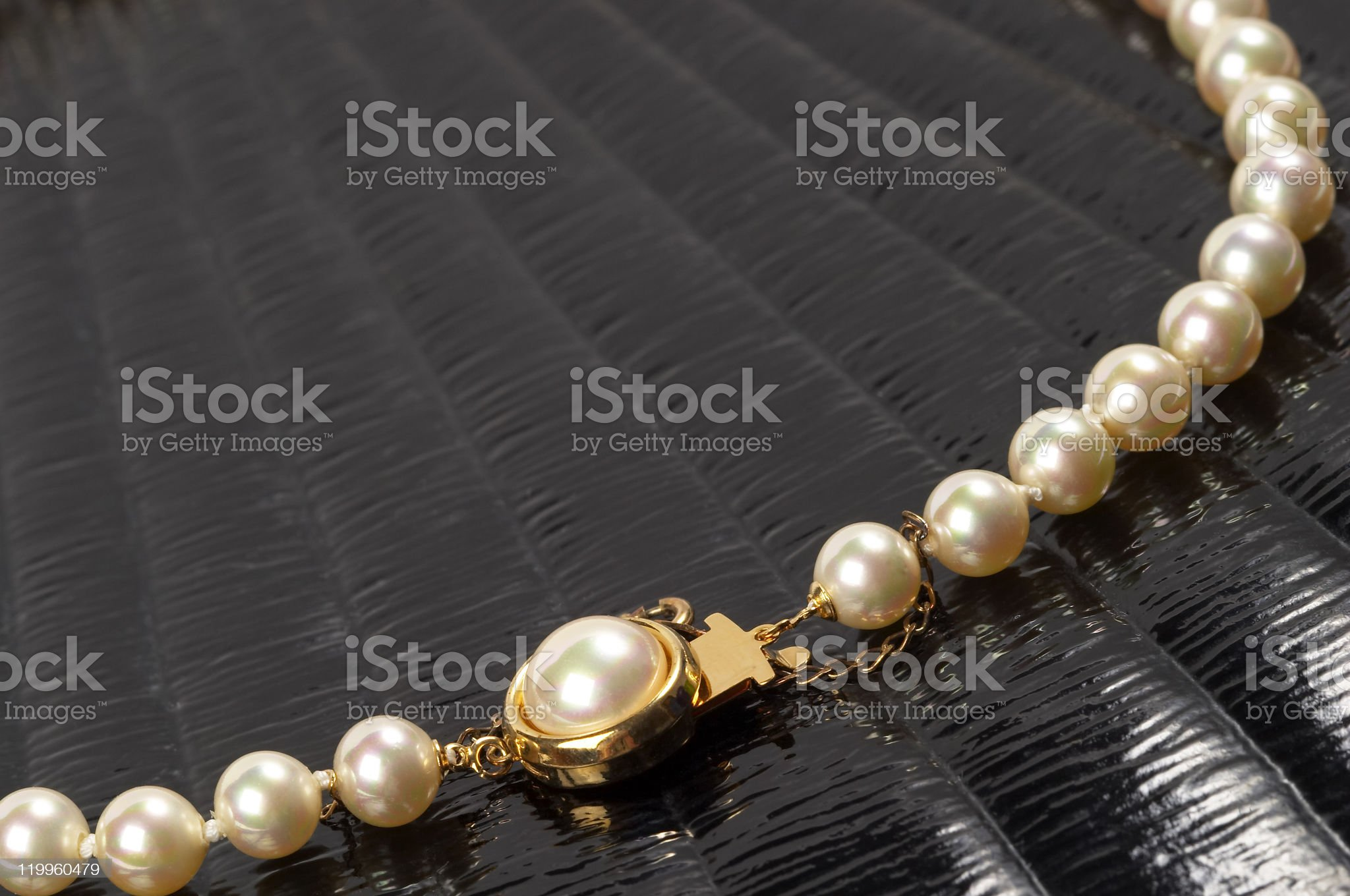 Pearl necklace fragment royalty-free stock photo