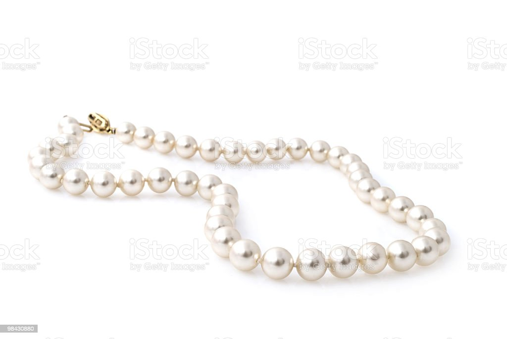 Pearl necklace isolated on white background stock photo