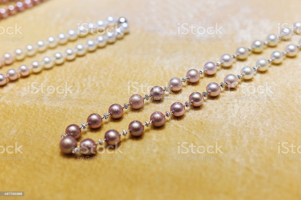 Pearl necklace on display stock photo