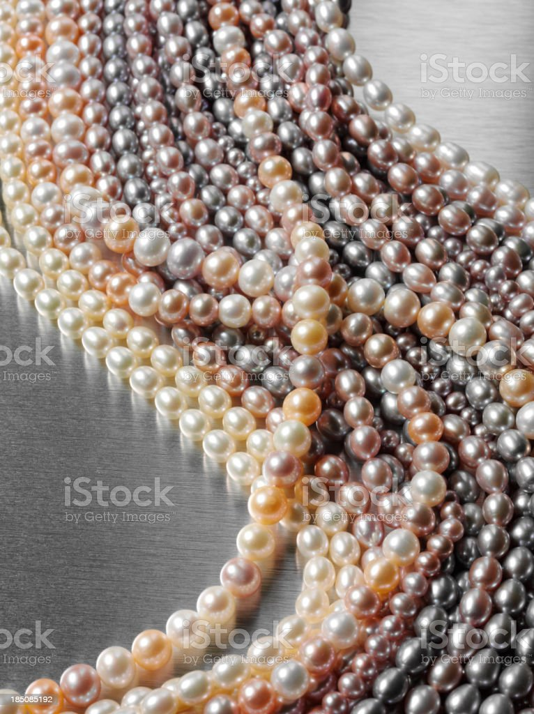 Pearl Necklaces in a Row royalty-free stock photo