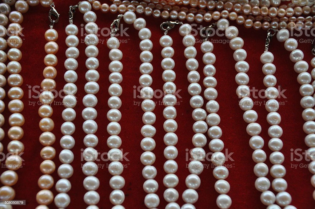 Pearl Necklaces on Red Velvet stock photo