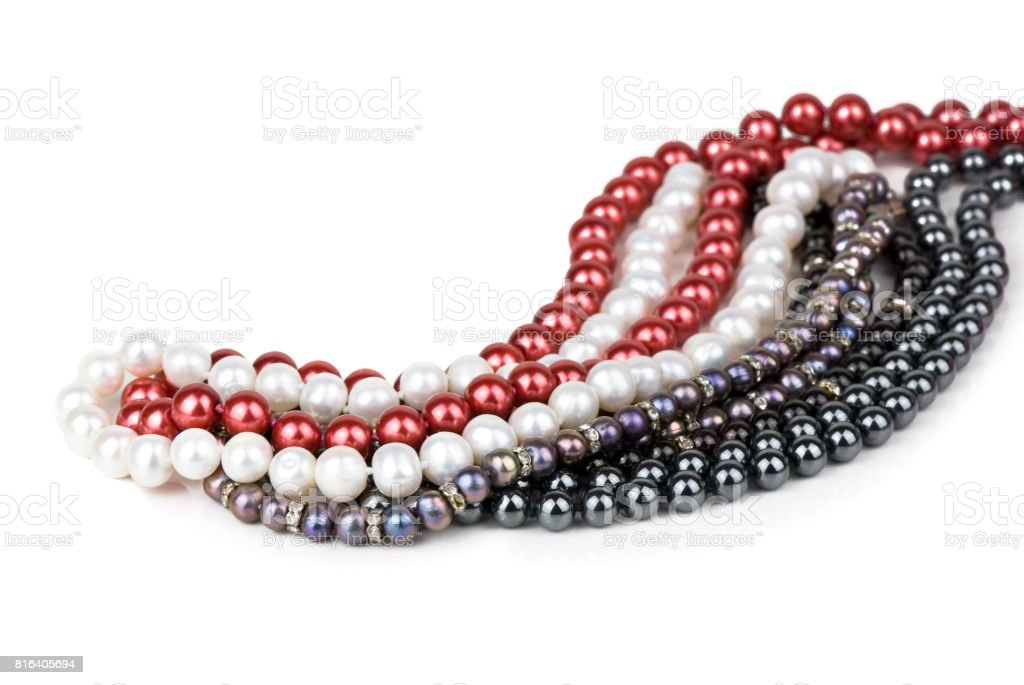 pearl necklaces stock photo