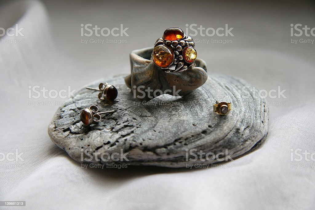 pearl oyster and amber royalty-free stock photo