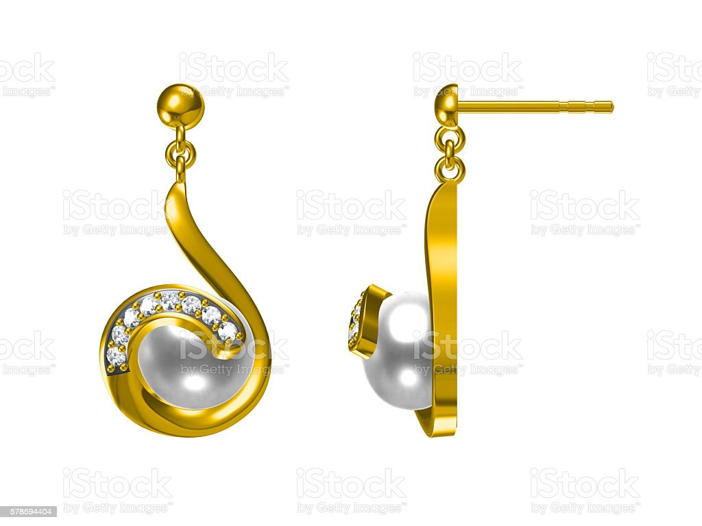 pearl pieced earrings pair fine jewelry isolated on white stock photo