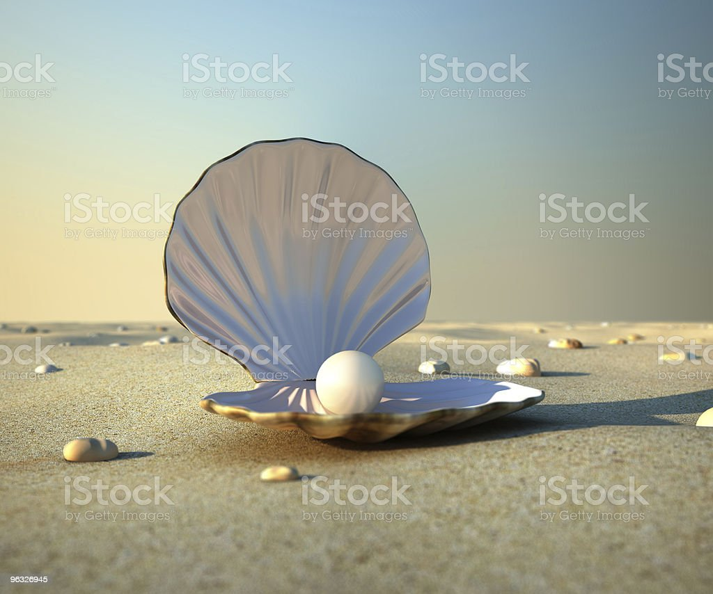 Pearl resting in sea shell on sandy beach stock photo