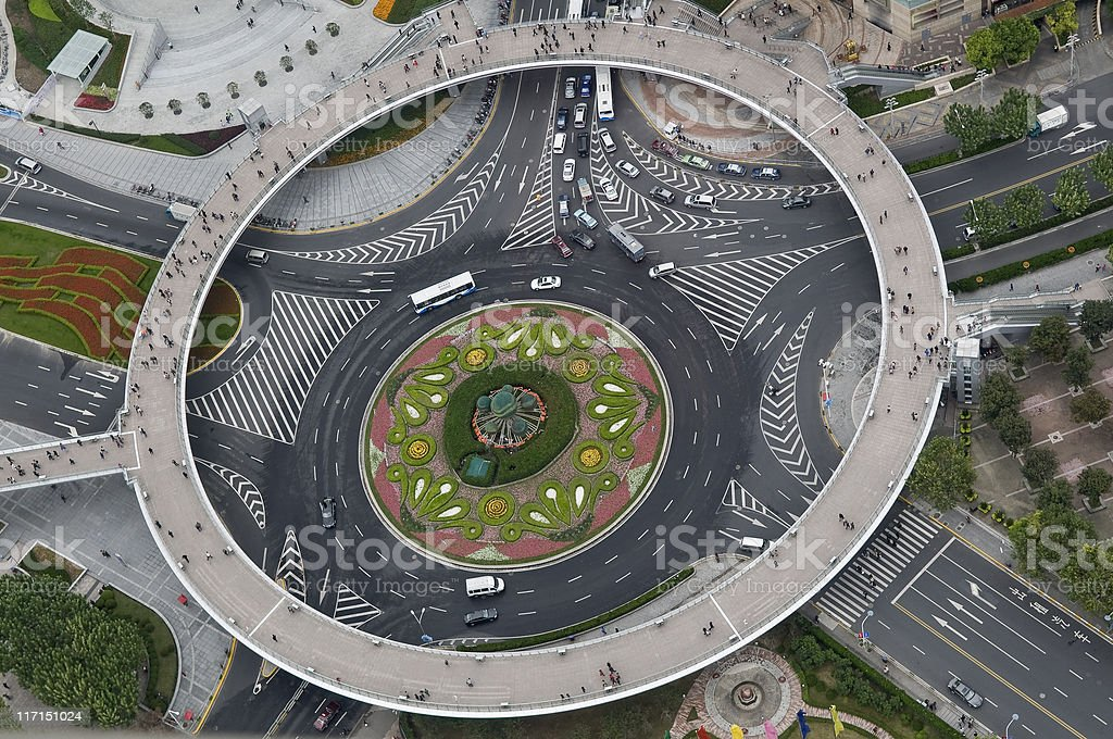 Pearl Ring Beautiful Roundabout in Shanghai China on Daytime royalty-free stock photo