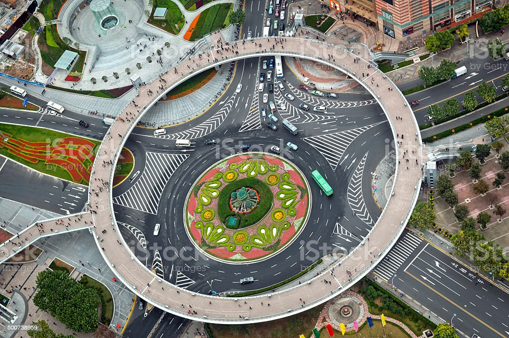 Pearl Ring Beautiful Roundabout in Shanghai China stock photo