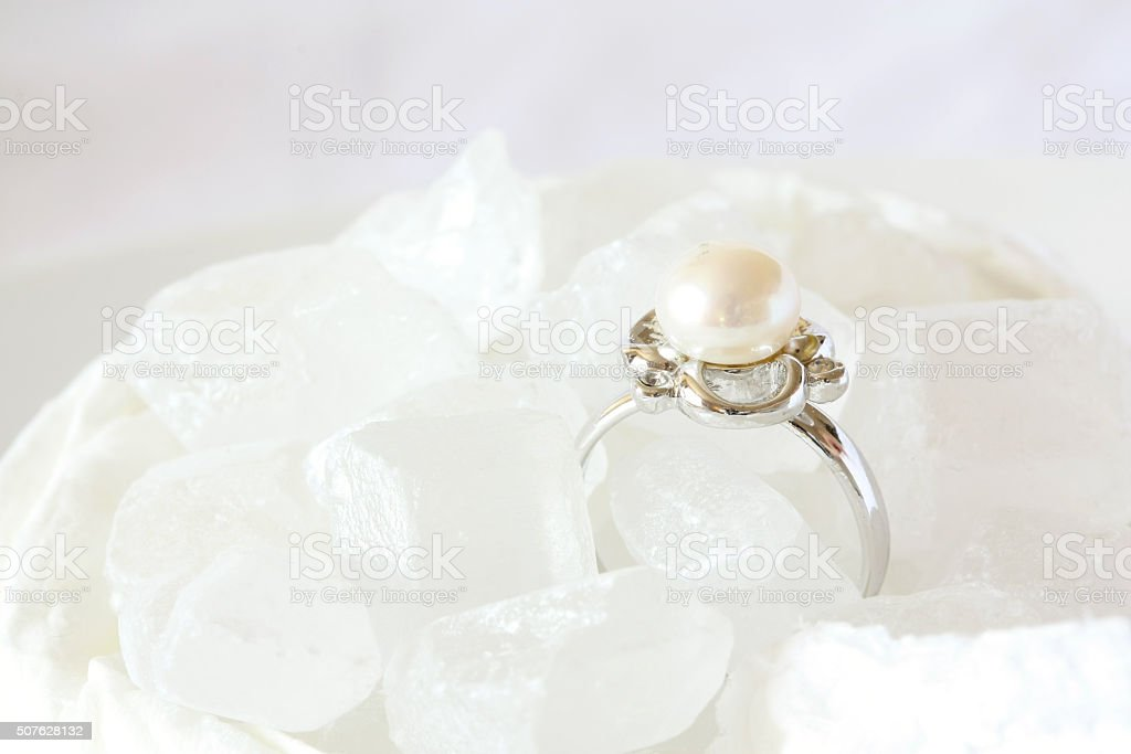 Pearl Ring Jewel on Crystal Sugar stock photo