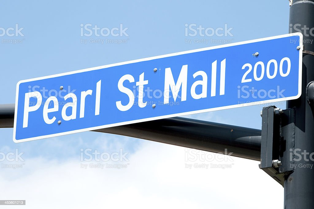 Pearl St Mall street Sign stock photo