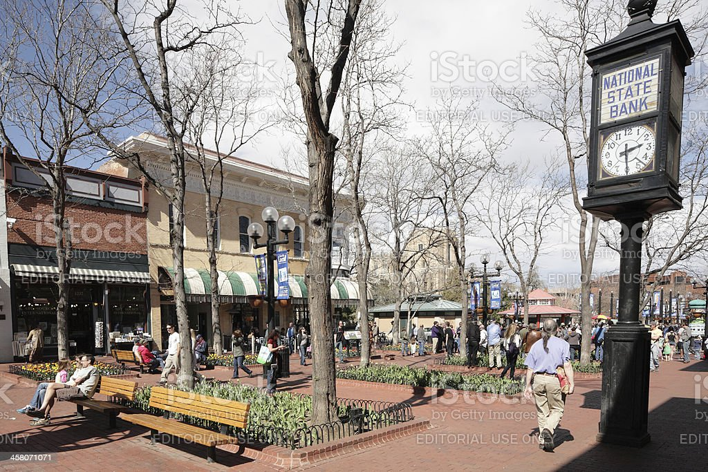 Pearl Street Mall, downtown Boulder, Colorado. stock photo