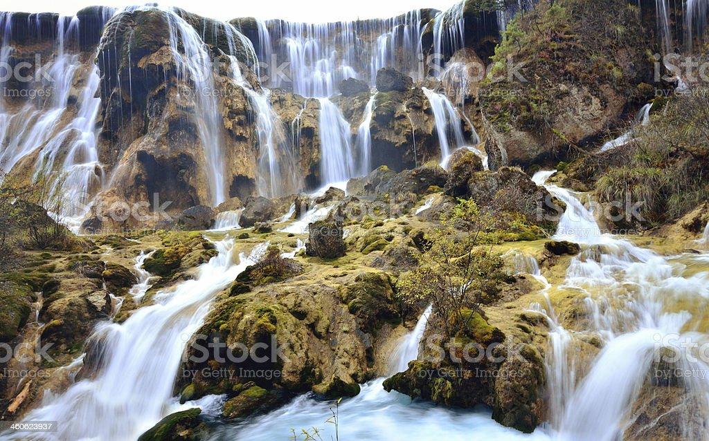 Pearl waterfall in Jiuzhaigou National Park stock photo