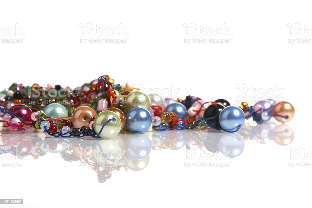 Pearls and beads necklace stock photo