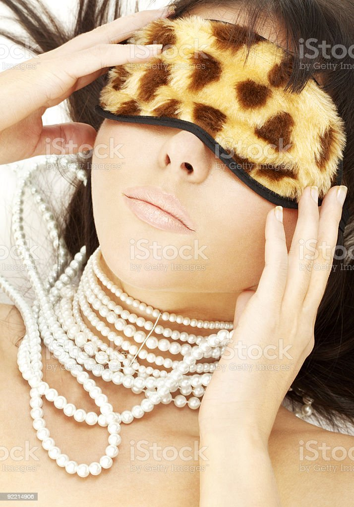 pearls and leopard mask #2 royalty-free stock photo