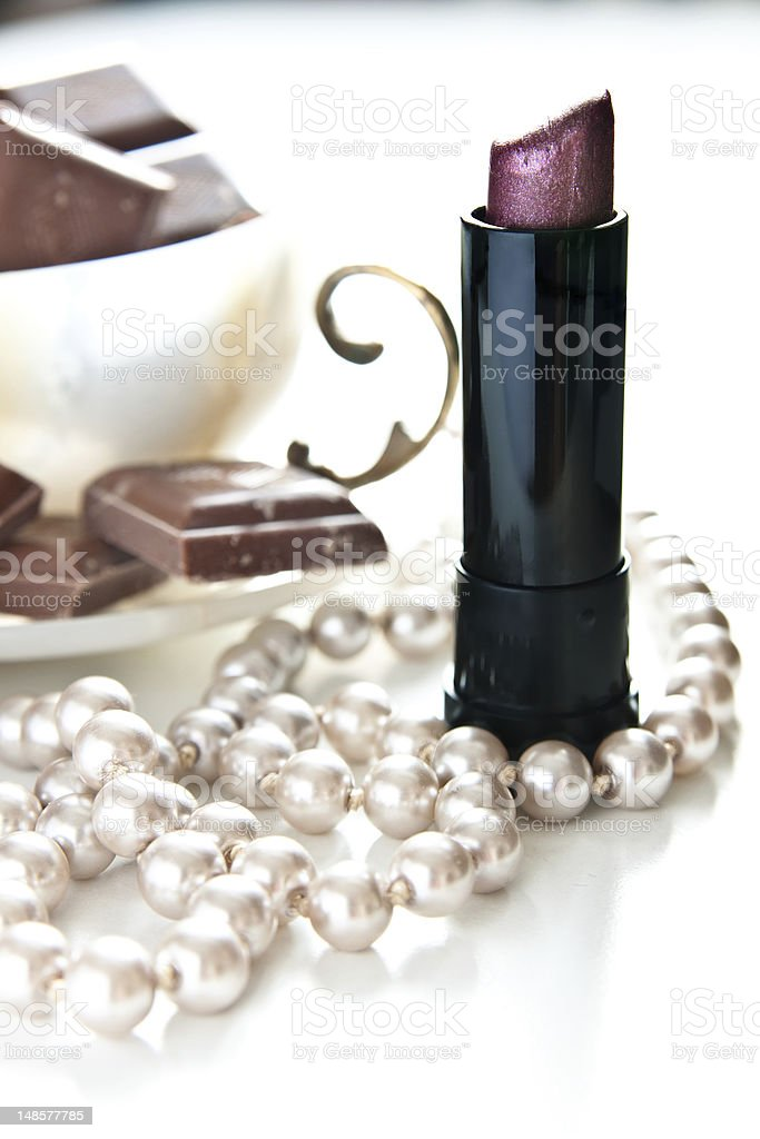 pearls and lipstcks royalty-free stock photo