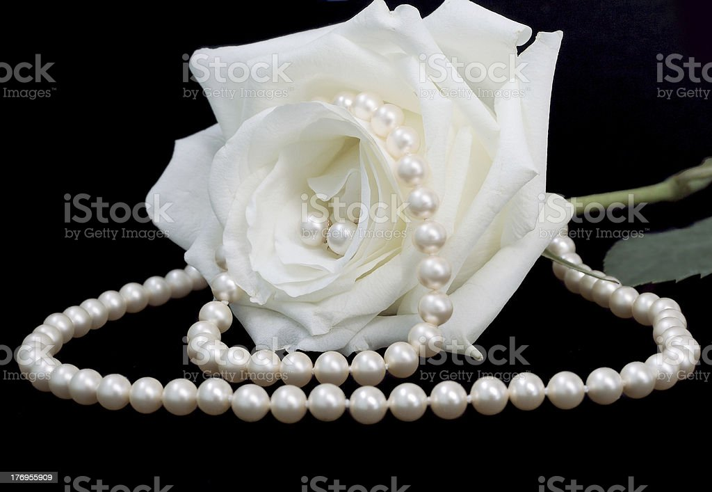 pearls and the rose royalty-free stock photo
