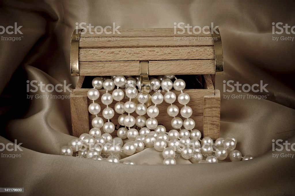 Pearls from chest stock photo