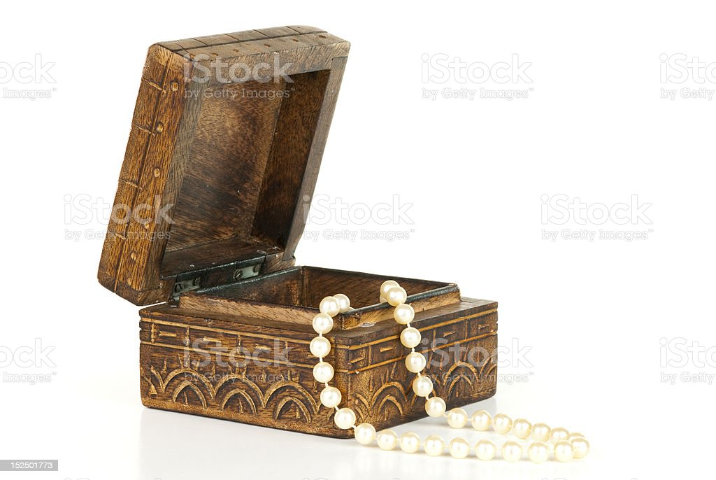 Pearls in a box stock photo