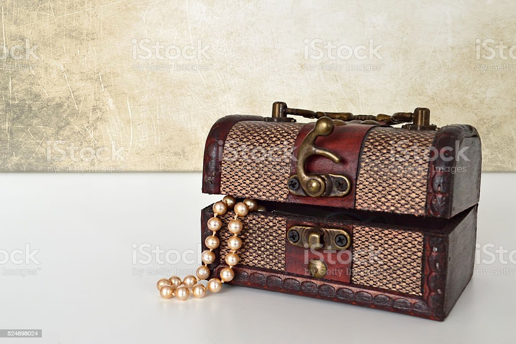Pearls in jewelry box stock photo