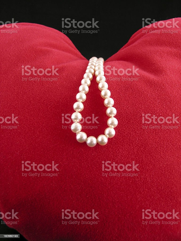 Pearls on heart royalty-free stock photo