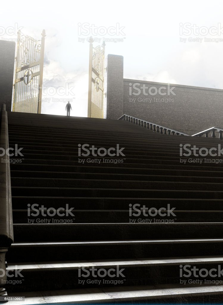 Pearly gates of heaven surrounded by clouds and the staircase leading up to them stock photo