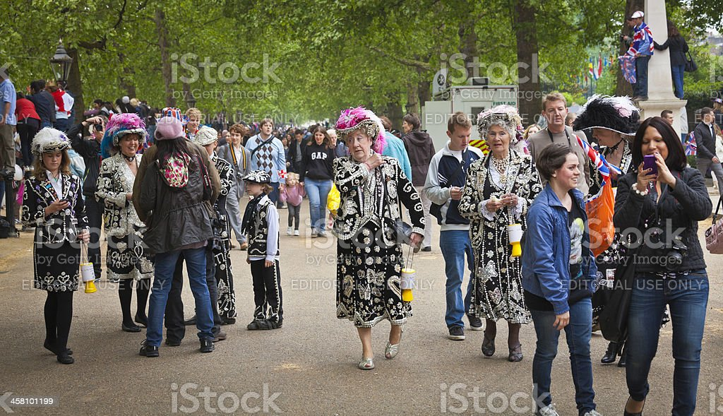 Pearly Kings and Queens at the Royal Wedding in London stock photo