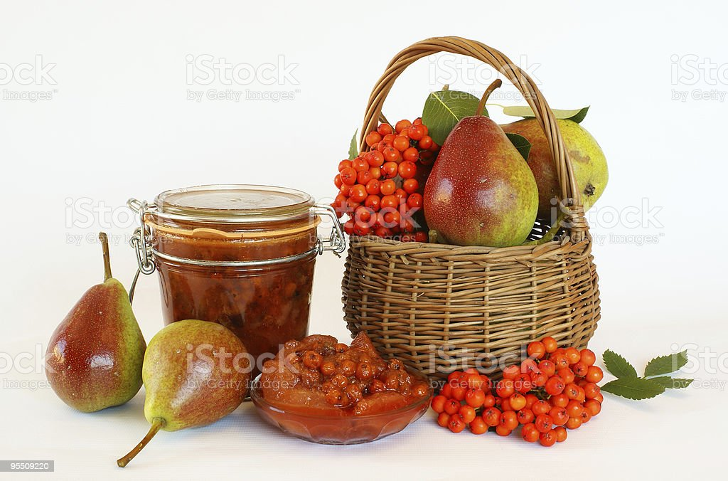 Pears and rowanberries jam royalty-free stock photo