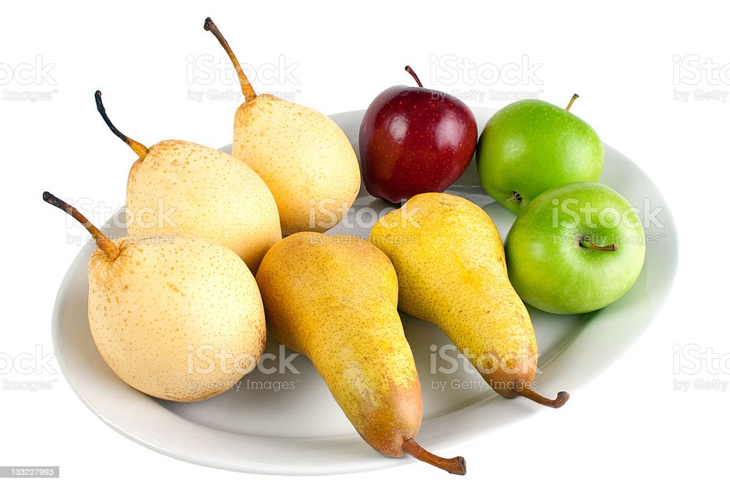 Pears, apples and nashi fruits on the dish royalty-free stock photo