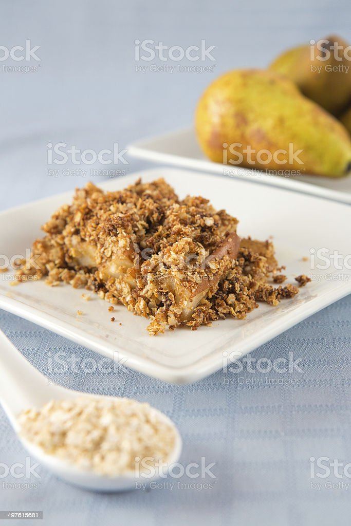 Pears crumble portion stock photo