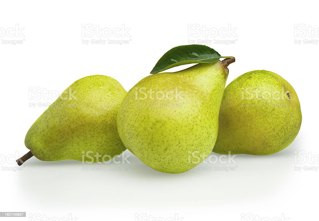 Pears green with Leaf stock photo