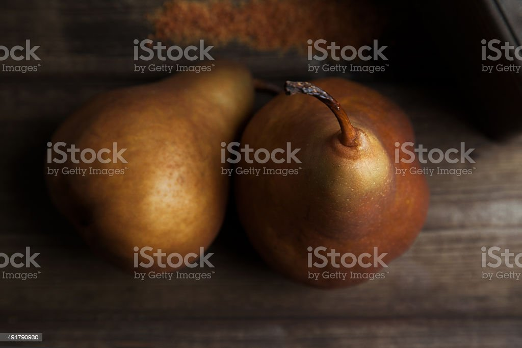 pears on the table stock photo